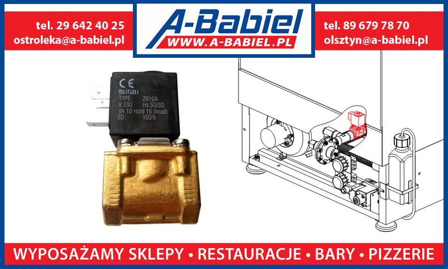 A-Babiel - Elektrozawór Sirai z cewka Z610A, zawór wody zmywarki ZK i ZKU Lozamet Olsztyn, Ostrołęka